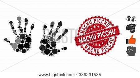 Mosaic Hand Prints Icon And Corroded Stamp Watermark With Machu Picchu Text. Mosaic Vector Is Formed