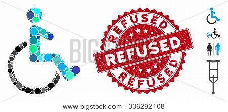 Mosaic Wheelchair Icon And Distressed Stamp Seal With Refused Caption. Mosaic Vector Is Designed Fro