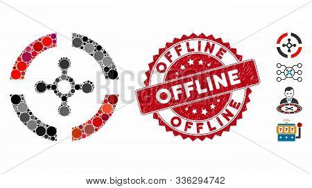 Mosaic Roulette Icon And Corroded Stamp Seal With Offline Text. Mosaic Vector Is Composed With Roule