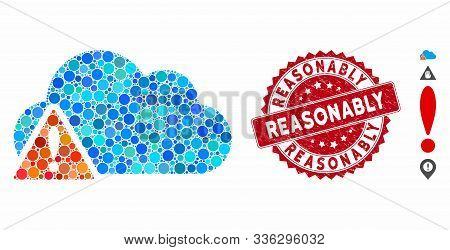 Mosaic Warning Icon And Rubber Stamp Watermark With Reasonably Text. Mosaic Vector Is Formed With Wa