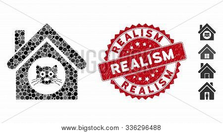 Mosaic Cat House Icon And Rubber Stamp Seal With Realism Text. Mosaic Vector Is Created With Cat Hou