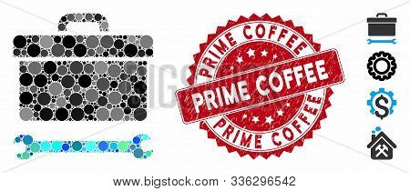 Mosaic Toolbox Icon And Grunge Stamp Seal With Prime Coffee Phrase. Mosaic Vector Is Created With To