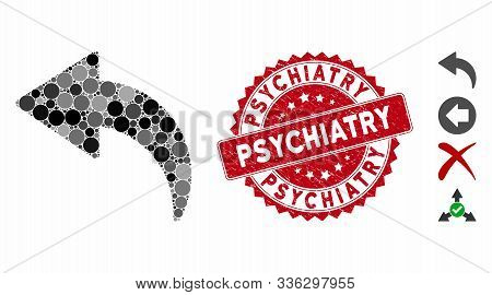 Mosaic Undo Icon And Grunge Stamp Watermark With Psychiatry Caption. Mosaic Vector Is Designed From