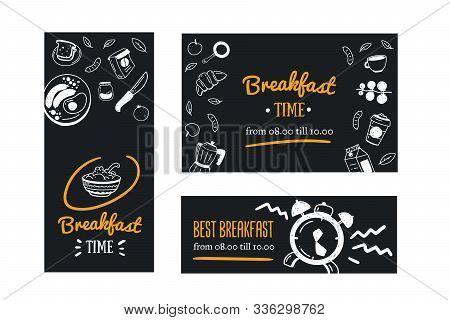 Breakfast Banner Template Set, Promotion Restaurant, Cafe On Chalkboard. Blackboard Poster With Dood