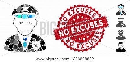 Collage Policeman Icon And Grunge Stamp Seal With No Excuses Text. Mosaic Vector Is Composed With Po