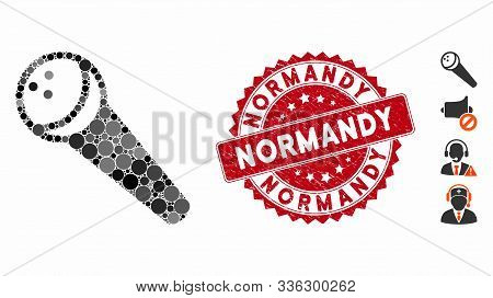 Mosaic Recording Microphone Icon And Rubber Stamp Seal With Normandy Phrase. Mosaic Vector Is Compos