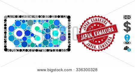 Mosaic Dollar Banknote Icon And Rubber Stamp Seal With Japan, Kamakura Text. Mosaic Vector Is Create