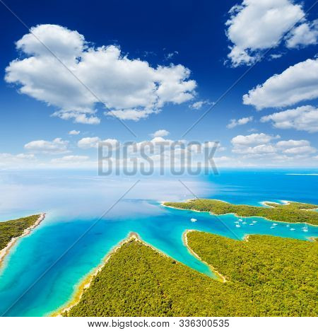 Aerial drone photo of tropical coast. Location place Punta Kriza, Cres island, Kvarner bay, Croatia, Europe. Great shot over the sea. Drone photography of popular tourist attraction. Beauty of earth.