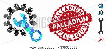 Mosaic Service Tools Icon And Rubber Stamp Seal With Palladium Text. Mosaic Vector Is Composed With