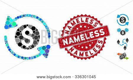 Mosaic Money Turnover Icon And Grunge Stamp Seal With Nameless Text. Mosaic Vector Is Formed From Mo
