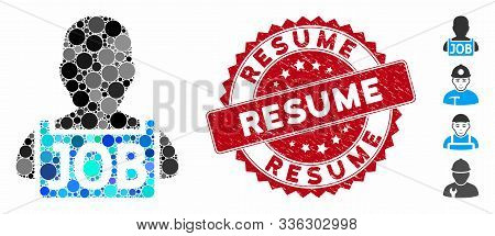 Collage Unemployed Icon And Grunge Stamp Watermark With Resume Caption. Mosaic Vector Is Designed Wi