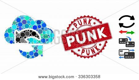 Mosaic Update Icon And Distressed Stamp Seal With Punk Caption. Mosaic Vector Is Formed With Update