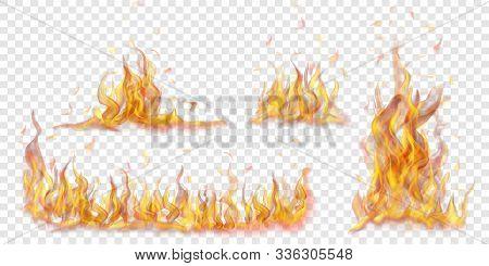Set Of Translucent Burning Campfires Of Flames And Sparks On Transparent Background. For Used On Lig