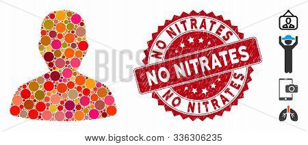 Mosaic Portrait Icon And Rubber Stamp Seal With No Nitrates Phrase. Mosaic Vector Is Formed With Por
