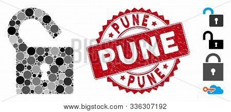 Mosaic Unlock Icon And Corroded Stamp Seal With Pune Caption. Mosaic Vector Is Composed From Unlock