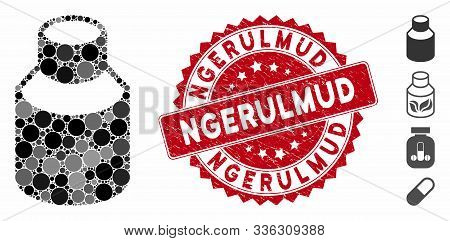 Mosaic Phial Icon And Corroded Stamp Seal With Ngerulmud Caption. Mosaic Vector Is Formed With Phial