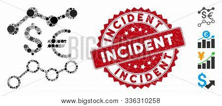 Collage Currency Trends Icon And Distressed Stamp Seal With Incident Text. Mosaic Vector Is Formed W