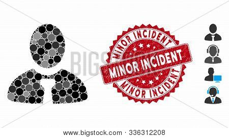 Collage Manager Icon And Rubber Stamp Watermark With Minor Incident Caption. Mosaic Vector Is Create