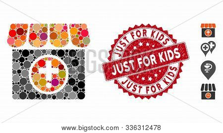 Mosaic Drugstore Icon And Grunge Stamp Watermark With Just For Kids Caption. Mosaic Vector Is Formed