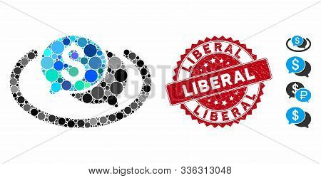 Mosaic Financial Chat Area Icon And Corroded Stamp Watermark With Liberal Phrase. Mosaic Vector Is C