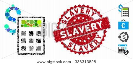 Collage Accounting Icon And Rubber Stamp Seal With Slavery Text. Mosaic Vector Is Designed With Acco