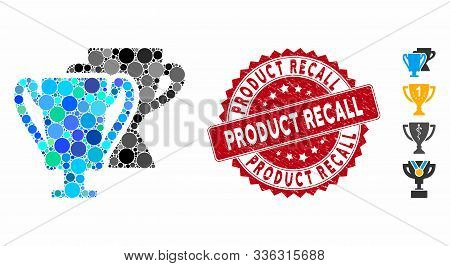 Mosaic Trophy Cups Icon And Rubber Stamp Watermark With Product Recall Phrase. Mosaic Vector Is Comp
