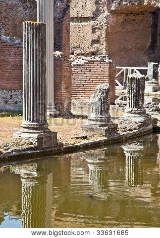 poster of Roman columns in Villa Adriana Tivoli Italy