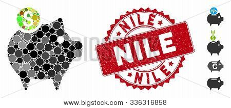 Mosaic Piggy Bank Icon And Rubber Stamp Watermark With Nile Caption. Mosaic Vector Is Created With P