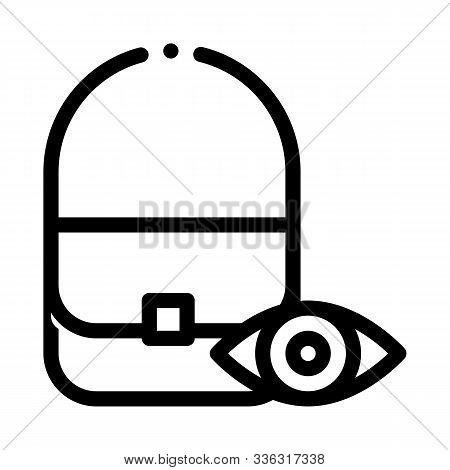 Bag Control Inspection Icon Vector. Outline Bag Control Inspection Sign. Isolated Contour Symbol Ill