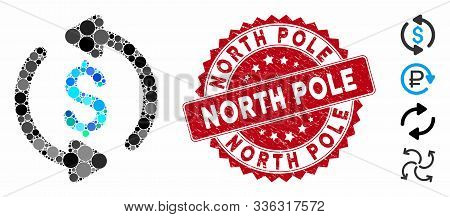Collage Refresh Price Icon And Rubber Stamp Seal With North Pole Caption. Mosaic Vector Is Composed