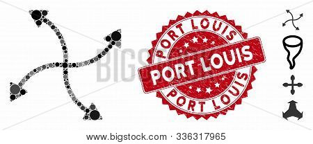 Mosaic Swirl Arrows Icon And Rubber Stamp Seal With Port Louis Caption. Mosaic Vector Is Designed Wi
