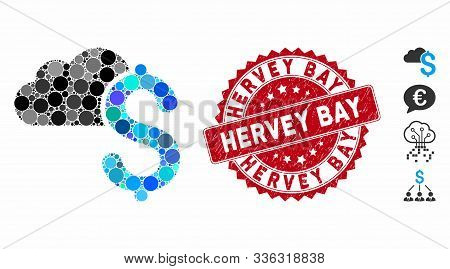 Mosaic Cloud Banking Icon And Distressed Stamp Seal With Hervey Bay Phrase. Mosaic Vector Is Designe