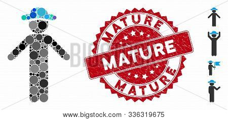 Mosaic Gentleman Apology Icon And Rubber Stamp Seal With Mature Caption. Mosaic Vector Is Formed Wit