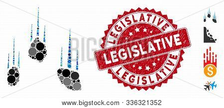 Mosaic Falling Rocks Icon And Grunge Stamp Watermark With Legislative Text. Mosaic Vector Is Compose