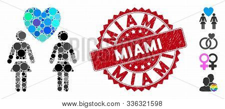 Mosaic Lesbi Love Pair Icon And Rubber Stamp Seal With Miami Text. Mosaic Vector Is Created With Les