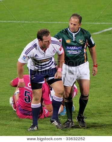 Rugby Tian Liebenberg Stormers Ref Jonathan Kaplan South Africa 2012