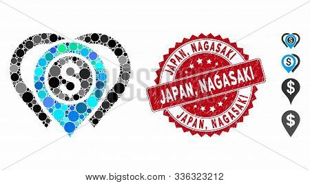 Mosaic Dollar Map Markers Icon And Corroded Stamp Watermark With Japan, Nagasaki Caption. Mosaic Vec