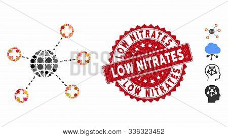 Mosaic Global Medical Links Icon And Corroded Stamp Watermark With Low Nitrates Phrase. Mosaic Vecto