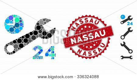 Collage Nonstop Service Hours Icon And Grunge Stamp Watermark With Nassau Text. Mosaic Vector Is Com