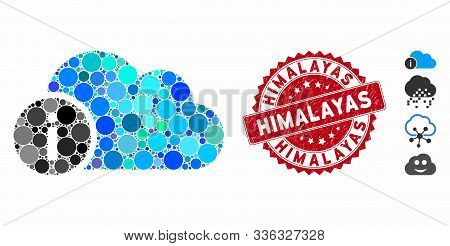 Mosaic Cloud Info Icon And Grunge Stamp Watermark With Himalayas Caption. Mosaic Vector Is Formed Wi