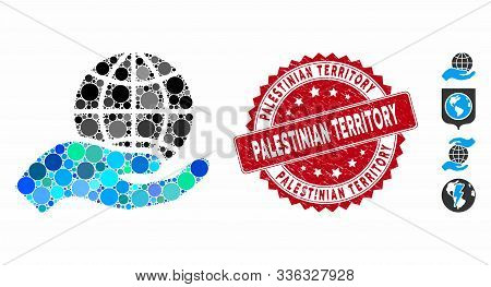 Collage Global Care Icon And Rubber Stamp Seal With Palestinian Territory Phrase. Mosaic Vector Is F