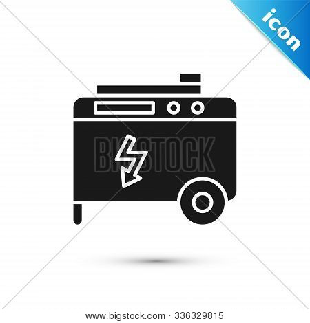 Black Portable Power Electric Generator Icon Isolated On White Background. Industrial And Home Immov