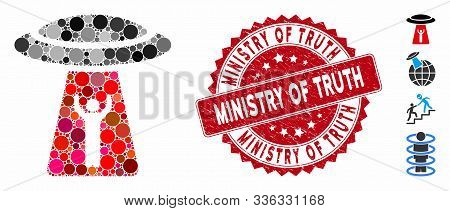 Mosaic Man Abduction Ufo Icon And Corroded Stamp Seal With Ministry Of Truth Phrase. Mosaic Vector I