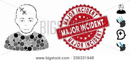 Mosaic Head Hurt Icon And Grunge Stamp Watermark With Major Incident Text. Mosaic Vector Is Composed