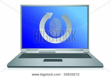 computer fingerprint security illustration design over white