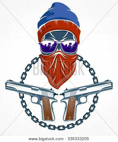 Revolution And Riot Wicked Emblem Or Logo With Aggressive Skull, Vector Tattoo, Anarchy And Chaos, R
