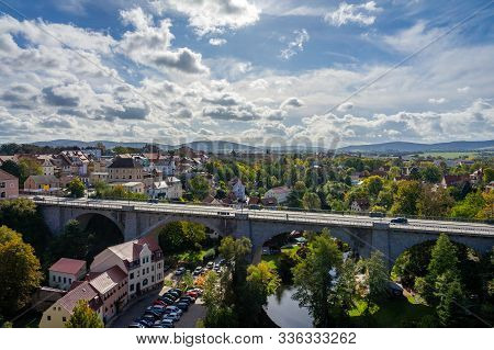 Bautzen, Germany - October 10, 2019: View Of The Town (apartment Building, Bridge And Spree River) F