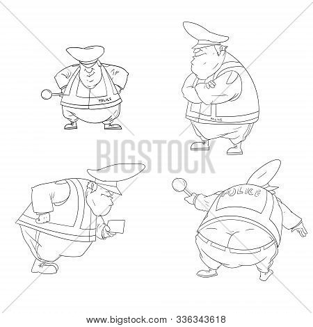 Outline Line Drawing Vector Illustration Of A Cartoon Traffic Police Officer Collection