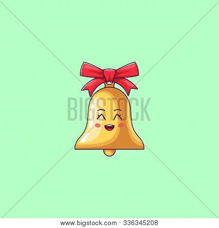 Cartoon Kawaii Golden Bell With Grinning Face. Cute Bell With Red Bowknot, Childish Character With C