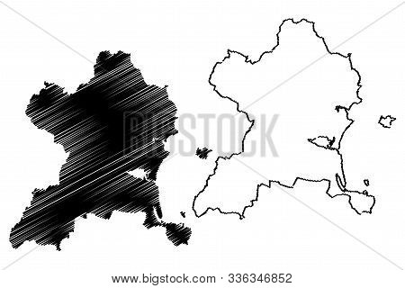 Fingal County Council (republic Of Ireland, Counties Of Ireland) Map Vector Illustration, Scribble S